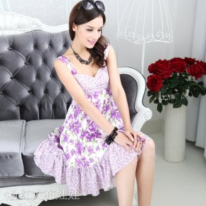2012-spring-Purple-splicing-suspender-skirt-one-piece-women-s-summer-dress-girl-fashion-dress