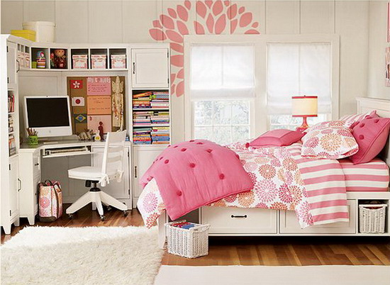 Cute-Pink-Theme-Decoration-for-Teenage-Bedroom