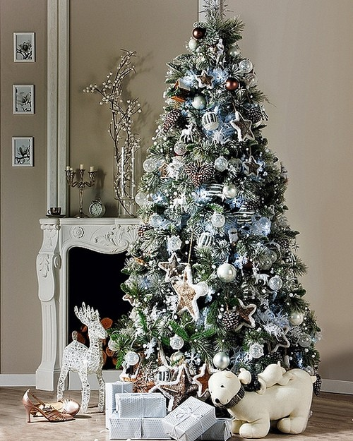 exciting-silver-and-white-christmas-tree-decorations-reino magazine 2013