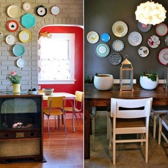 REINO MAGAZINE-IDEAS PARA DECORAR LA PARED DEL COMEDOR CON PLATOS